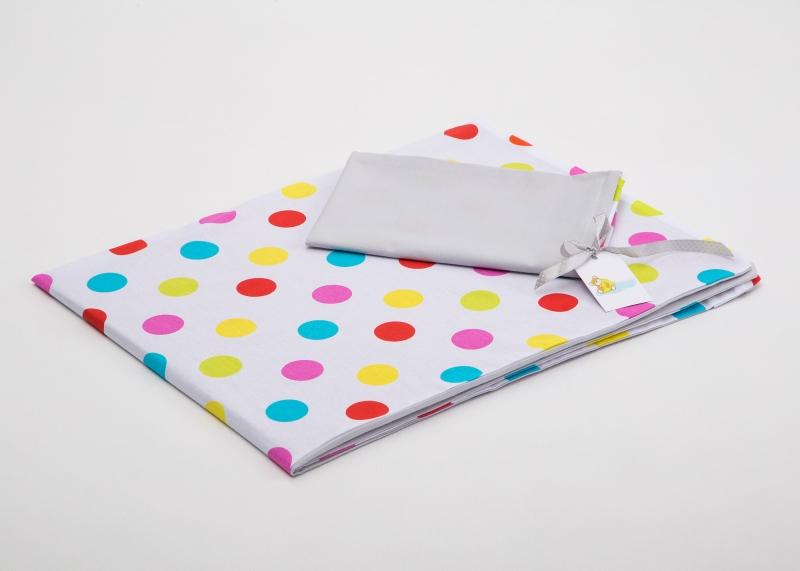 Bavlněné povlečení do postýlky  - bílá-barevné puntíky/šedá