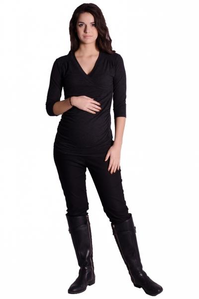 Be MaaMaa Těhotenské, kojící triko 3/4 rukáv - grafit, vel. L/XL